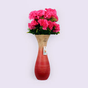Bright Red Wooden Vase