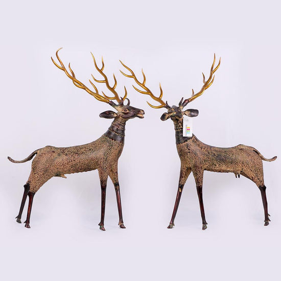 Wild Deer Pair in Brass