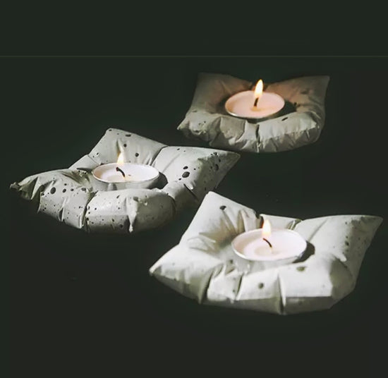 Concrete Pillow Candle Holder (Set of 2)