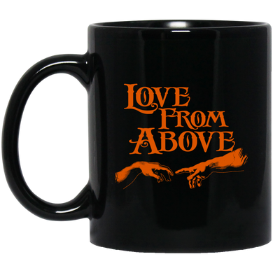 LOVE FROM ABOVE [BRONZE] 11 oz. Black Mug