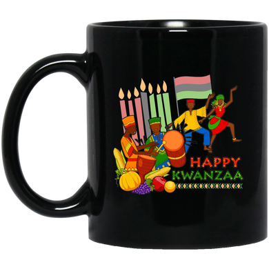 HAPPY KWANZAA CELEBRATION 11 oz. Black Mug
