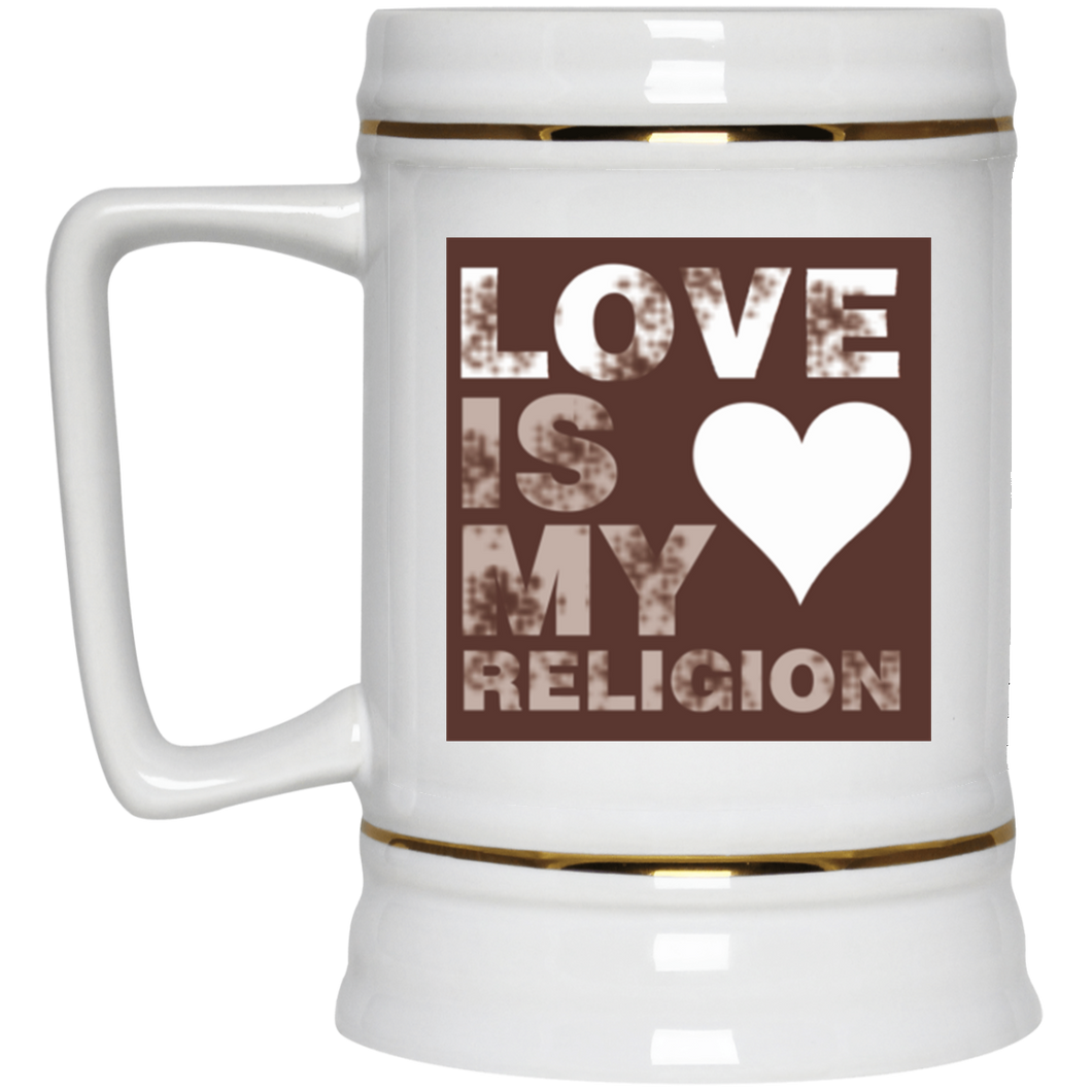 LOVE IS MY RELIGION (BROWN) 22oz. Mega Mug