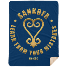 SANKOFA - LEARN FROM YOUR MISTAKES Extra Large Fleece Sherpa Blanket - 60x80 (various colrs)