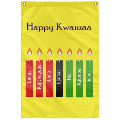 HAPPY KWANZAA 7 PRINCIPLES Wall Flag (various colors)
