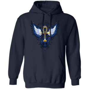 ANKH WITH WINGS Pullover Hoodie 8 oz. (various colors)