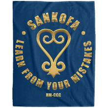 SANKOFA - LEARN FROM YOUR MISTAKES Extra Large Velveteen Micro Fleece Blanket - 60x80 (various colors)