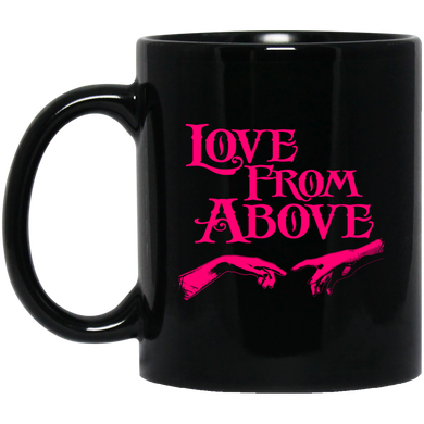 LOVE FROM ABOVE [PINK] 11 oz. Black Mug