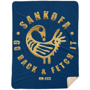 SANKOFA - GO BACK & FETCH IT Extra Large Fleece Sherpa Blanket - 60x80 (various colors)