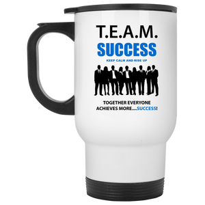 T.E.A.M. SUCCESS - RISE UP White Travel Mug
