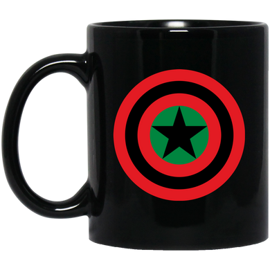 BLACK STAR SHIELD 11 oz. Black Mug