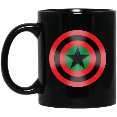 BLACK STAR SHIELD [GLOW] 11 oz. Black Mug