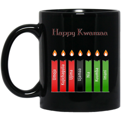 HAPPY KWANZAA 7 PRINCIPLES 11 oz. Black Mug