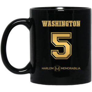 HARLEM MEMORABILIA [GOLD] - WASHINGTON 5 11 oz. Black Mug