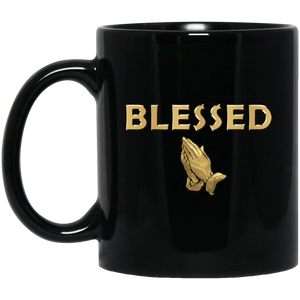 BLESSED WITH PRAYER HANDS 11 oz. Black Mug