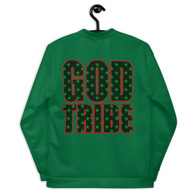 GOD TRIBE - BLACK STAR SHIELD Unisex Bomber Jacket [GREEN]