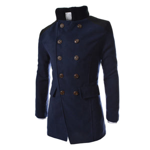Men's Warm Winter Trench Long Button Smart Overcoat