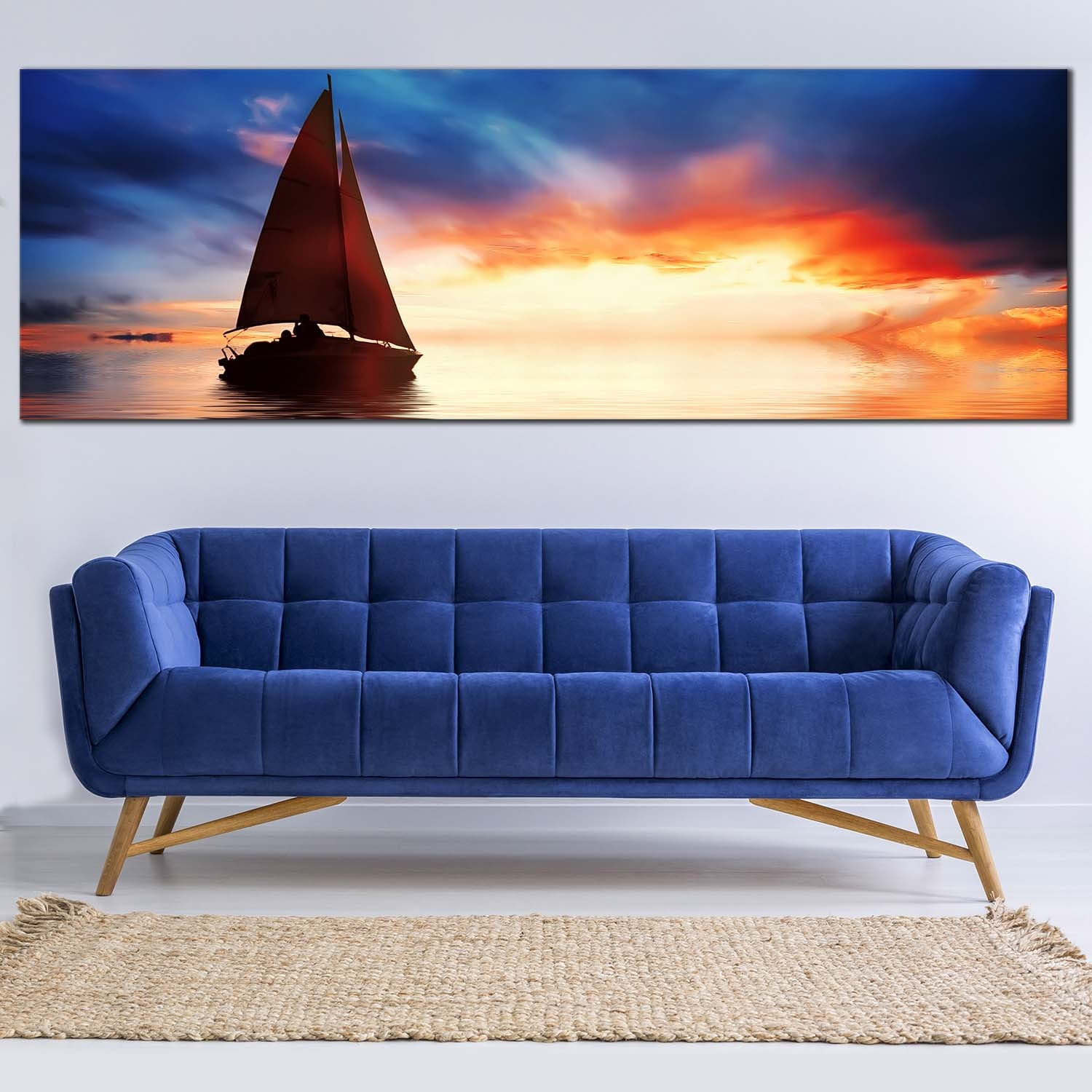 Sailing Boat Canvas Seascape Blue Sky Panorama Wall Art Picture Home Decor