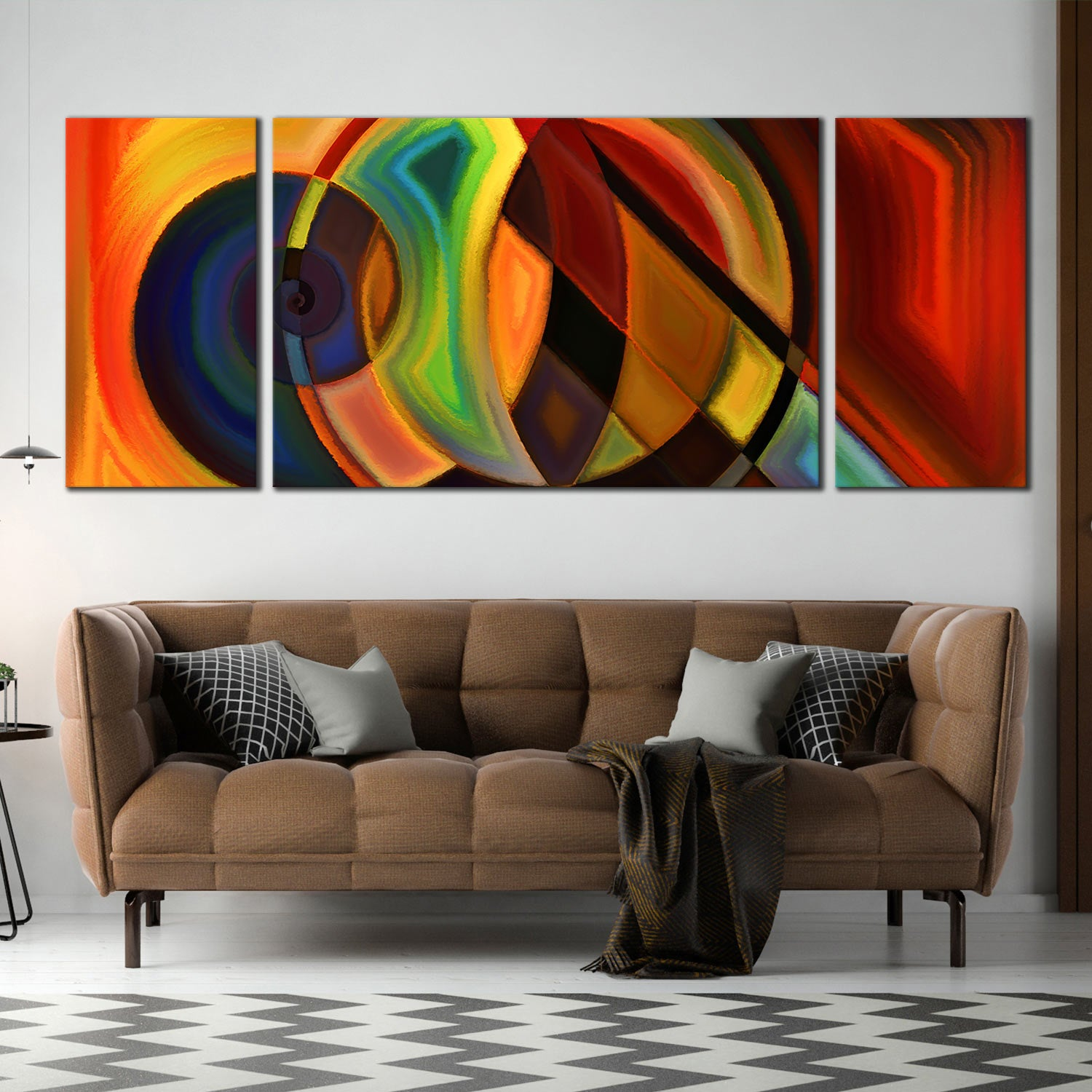 Canvas Prints Abstract Composition Red Orange Yellow 3