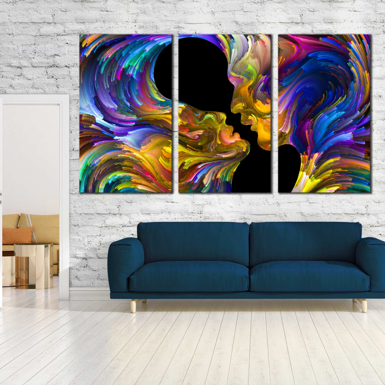 Abstract Swirl Canvas Wall Art Colorful Couples Kiss 3 Piece Canvas Print Romantic Sensual Humans Triptych Multi Canvas Artwork
