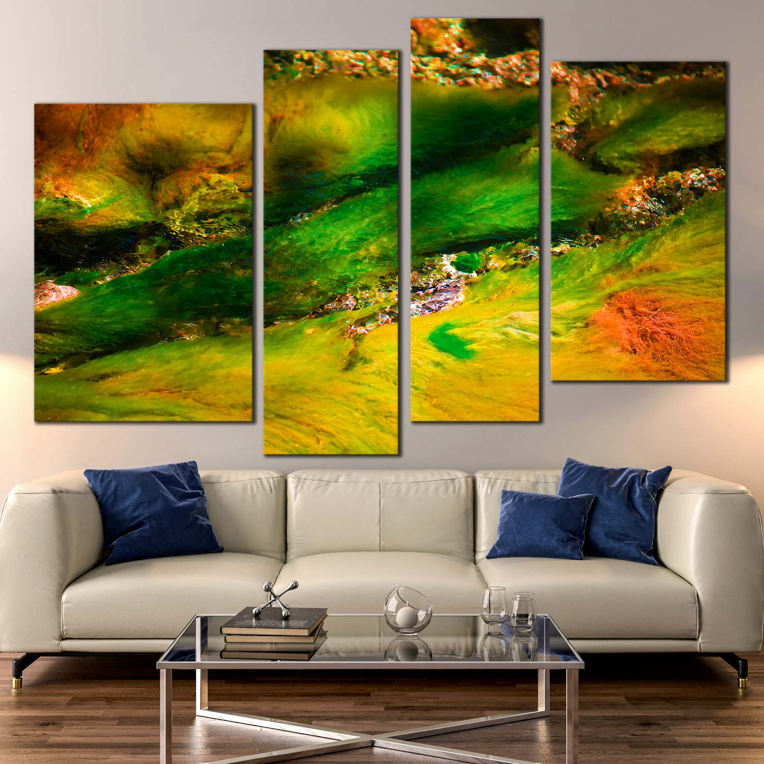 4 Panel Canvas Print Abstract Seabed with Green Brown Yellow Algae ...