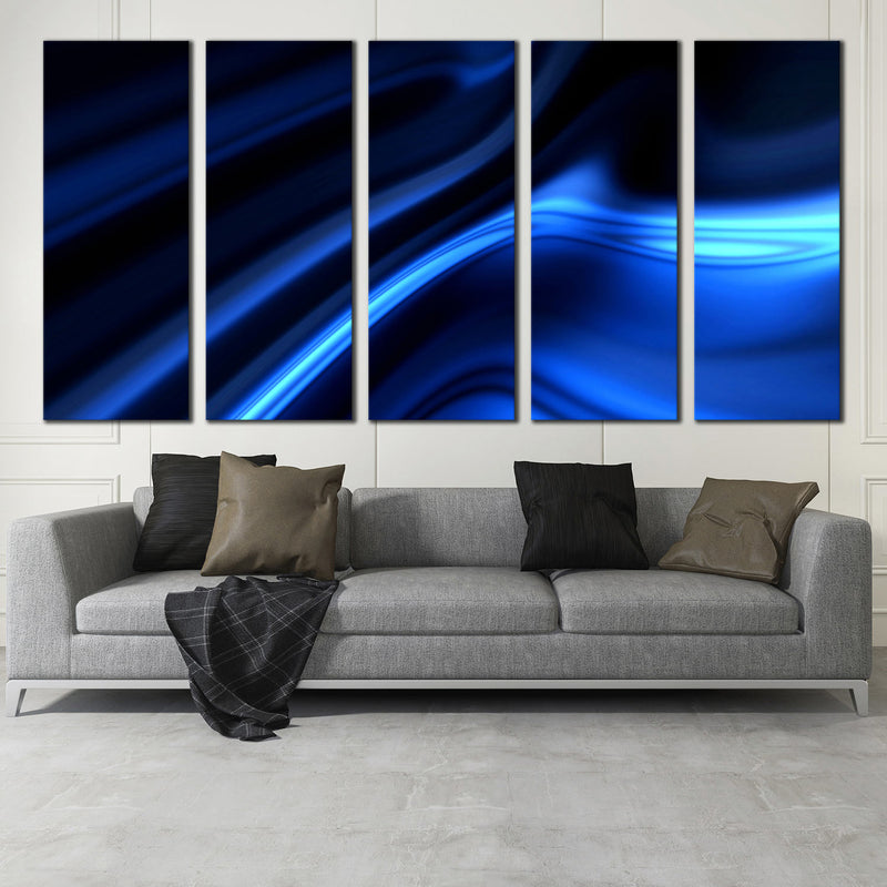 Dark Bright Blue Abstract Wall Art 5 Pc. Motion Artwork Canvas ...