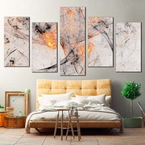 Abstract Artwork Canvas Print, Yellow Artistic Abstract Canvas Wall Art, Grey 3D Abstract Fractal 5 Piece Multi Canvas