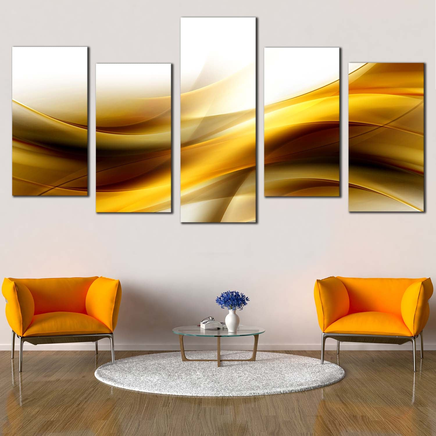 Contemporary Abstract Canvas Wall Art Gold Color Waves