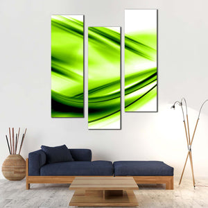 Abstract Waves Canvas Print, Green Abstract Waves 3 Piece Canvas Wall Art, White Modern Abstract Patterns Multiple Canvas
