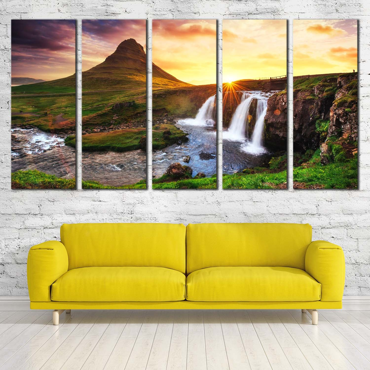 Kirkjufellsfoss Waterfall Canvas Prints with Kirkjufell Mountain in ...