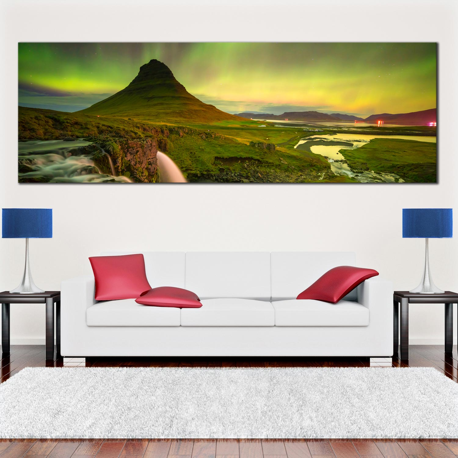 Kirkjufell mountain canvas wall art iceland northern lights panoramic canvas yellow green sky mountain river waterfall 1 piece canvas print