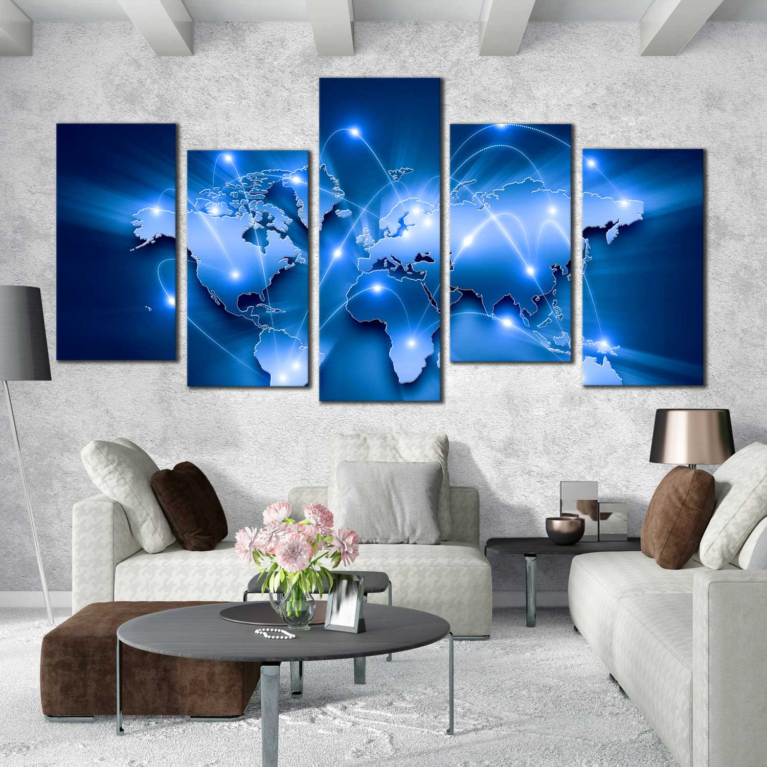 World map canvas wall art blue world map 5 piece multi canvas artwork connected map with white lines canvas print