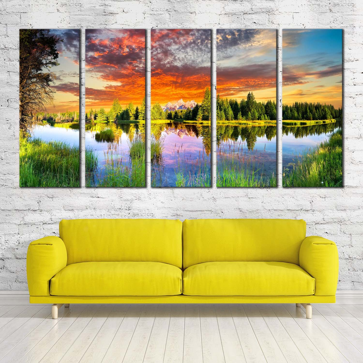 Morning Scenery Landscape Tetons Wyoming Wall Art Home Decoration ...
