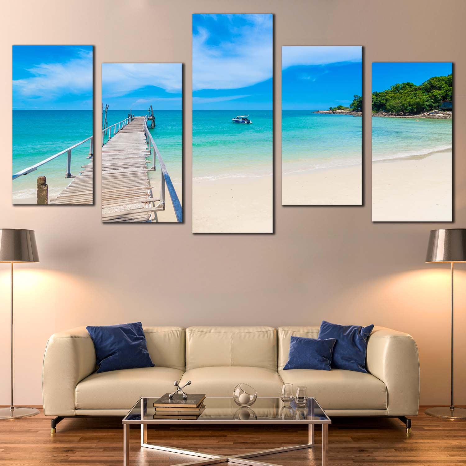 Ocean Beach Canvas Wall Art, Thailand Ocean Blue Sky 5 ...