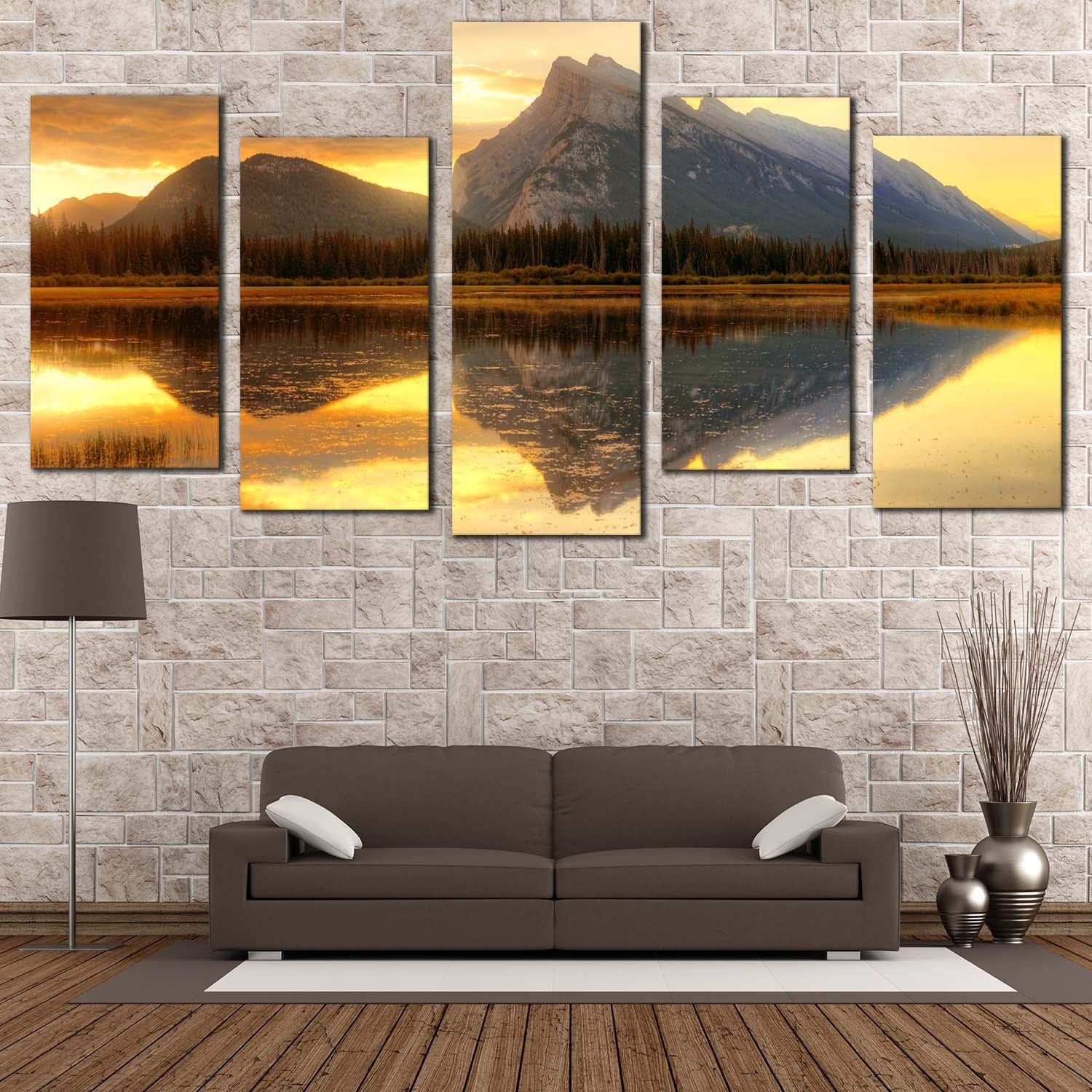 Mount Rundle Canvas Wall Art Canada Yellow Cloudy Sunset