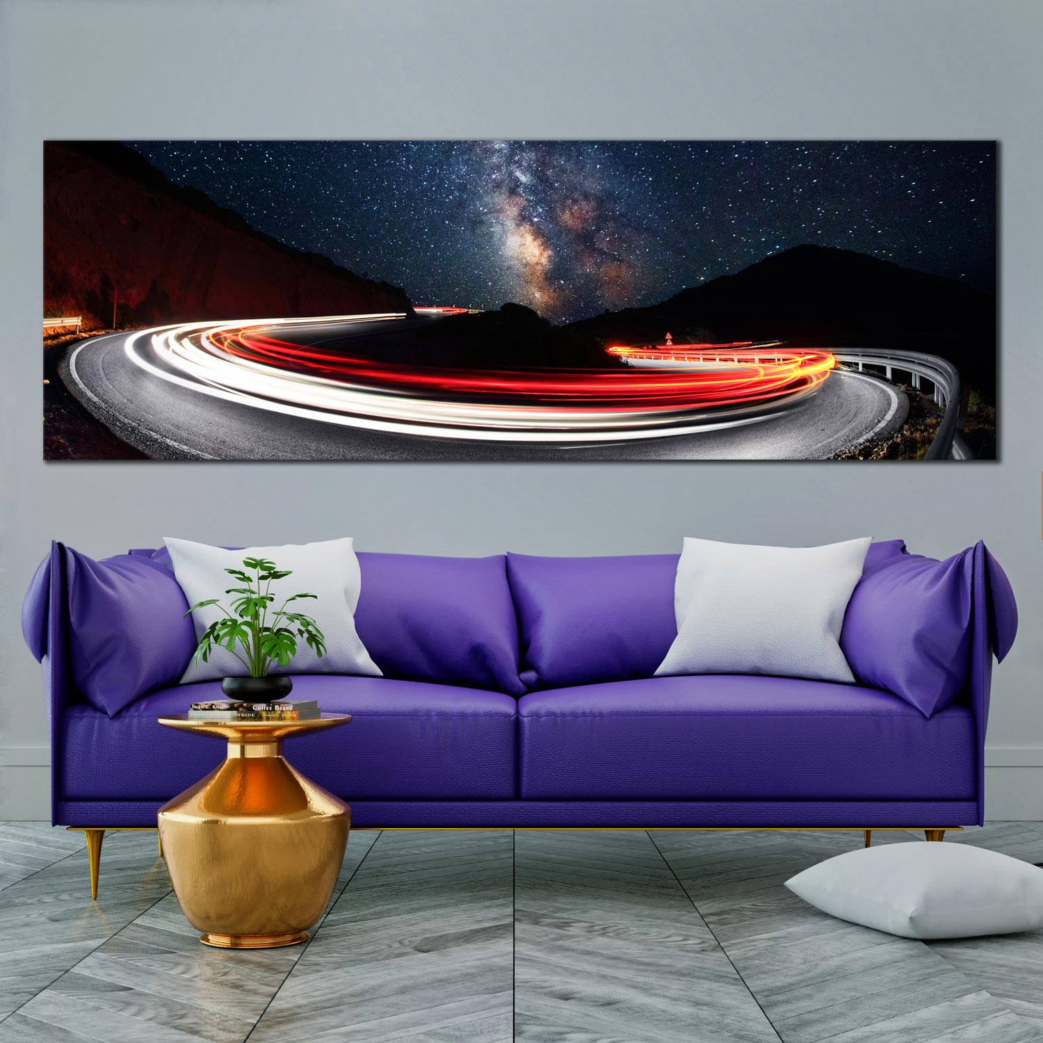 Milky way canvas wall art cars red bright light trails panoramic canvas print dark blue night sky mountains 1 piece canvas set