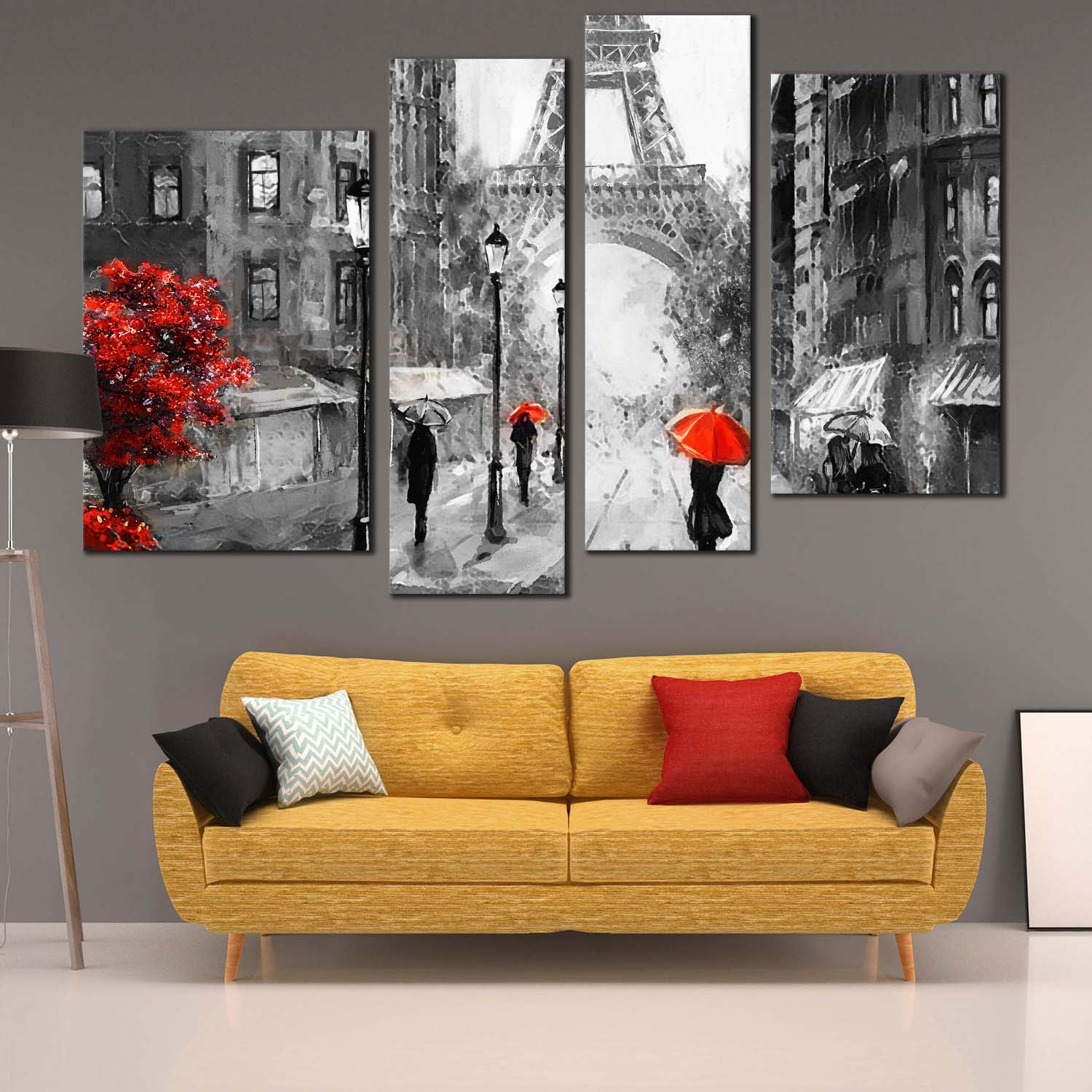 France Street Canvas Wall Art Red Tree People With Umbrella Canvas Print Paris Grey Cityscape 4 Piece Canvas Set
