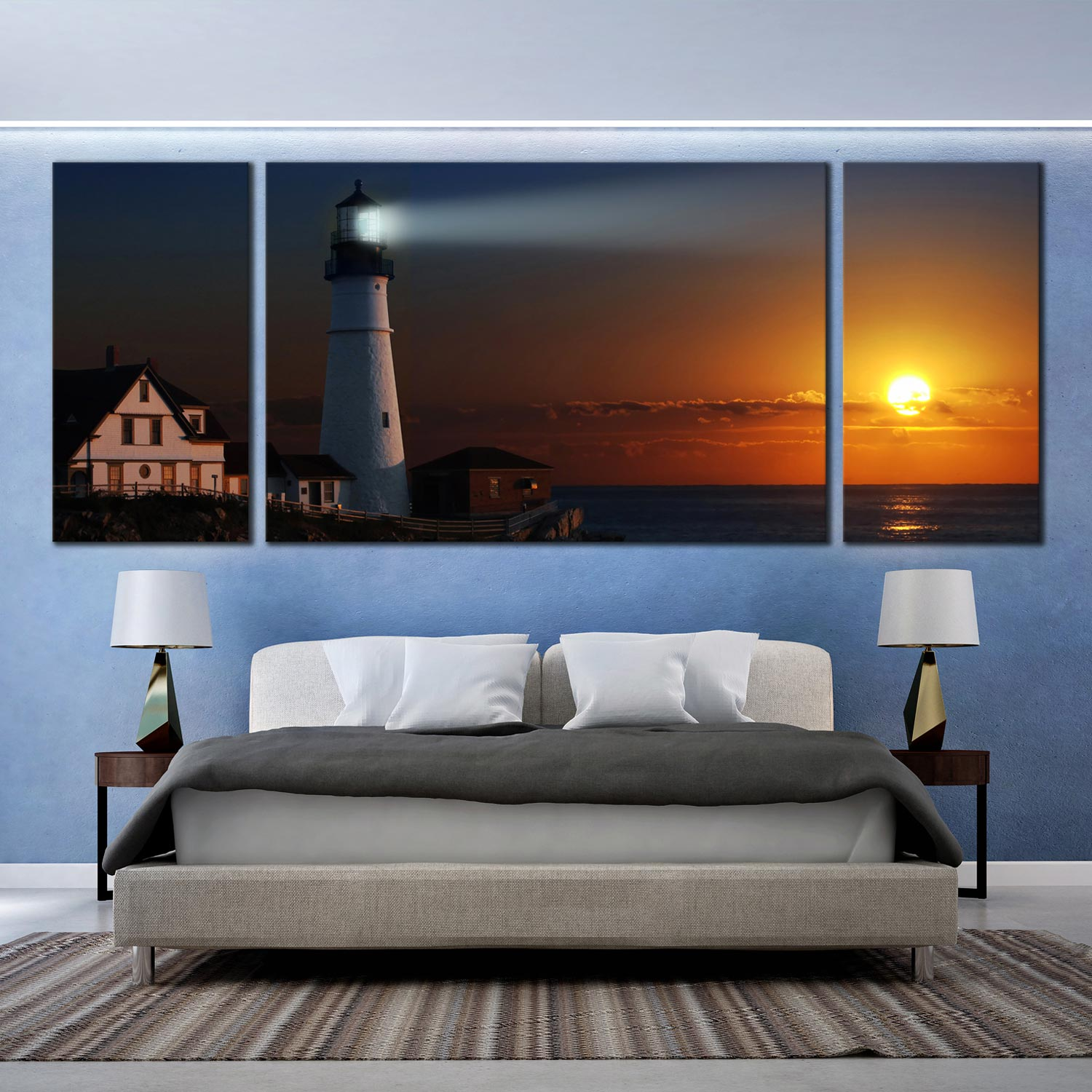 Portland City Canvas Wall Art, Lighthouse Cliff Houses Orange Sunset Canvas  Set, White Bright Light 3 Piece Canvas Print