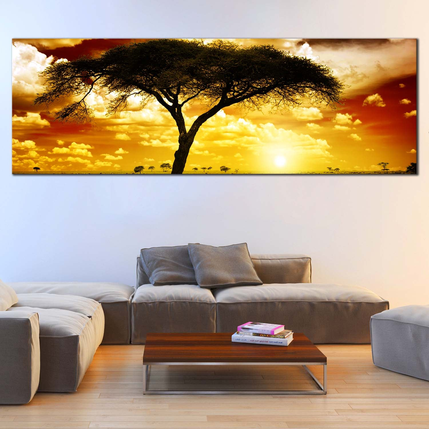 Multi Panel Canvas Wall Art of Yellow Sky Alone Tree Africa, 4 Pc ...