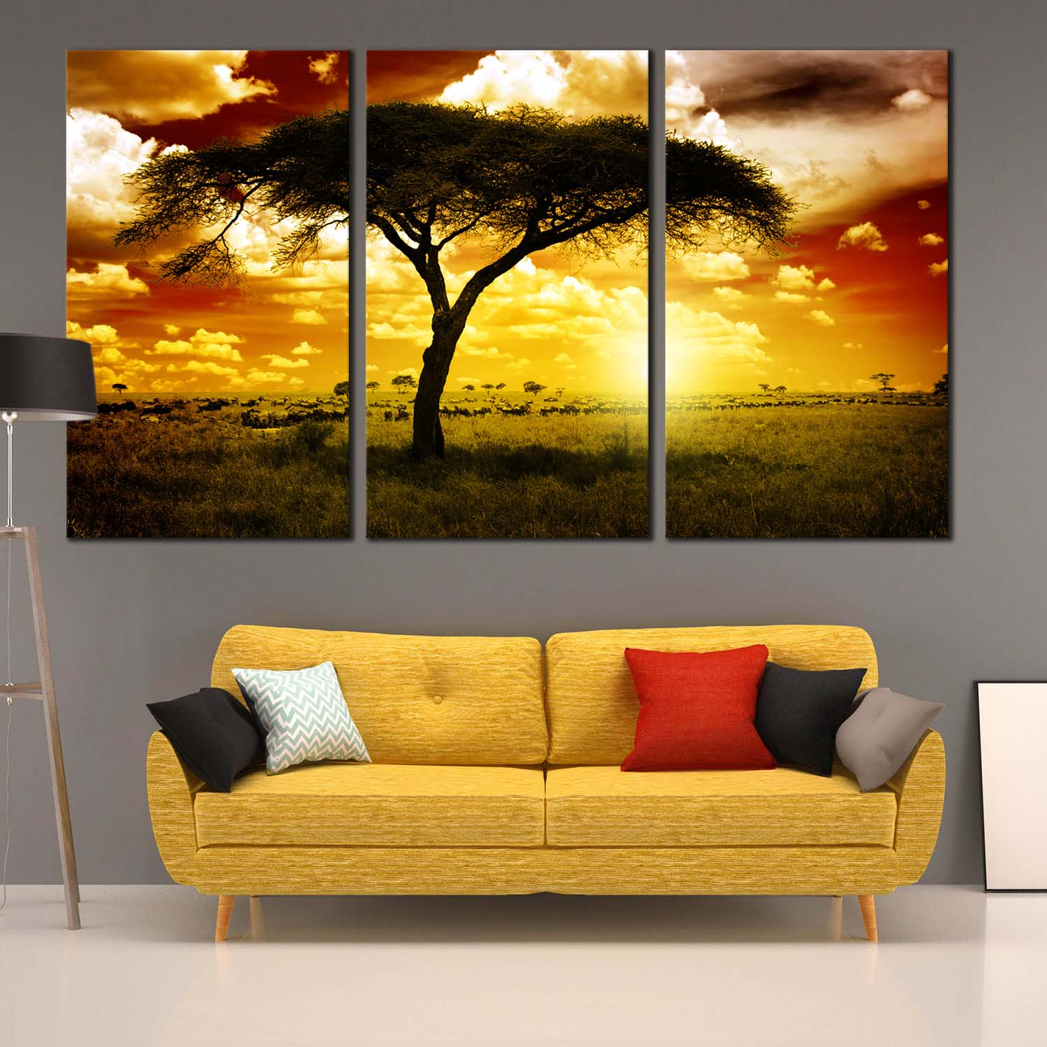 Triptych Canvas of Alone Tree African Sunset, Yellow Alone Tree ...