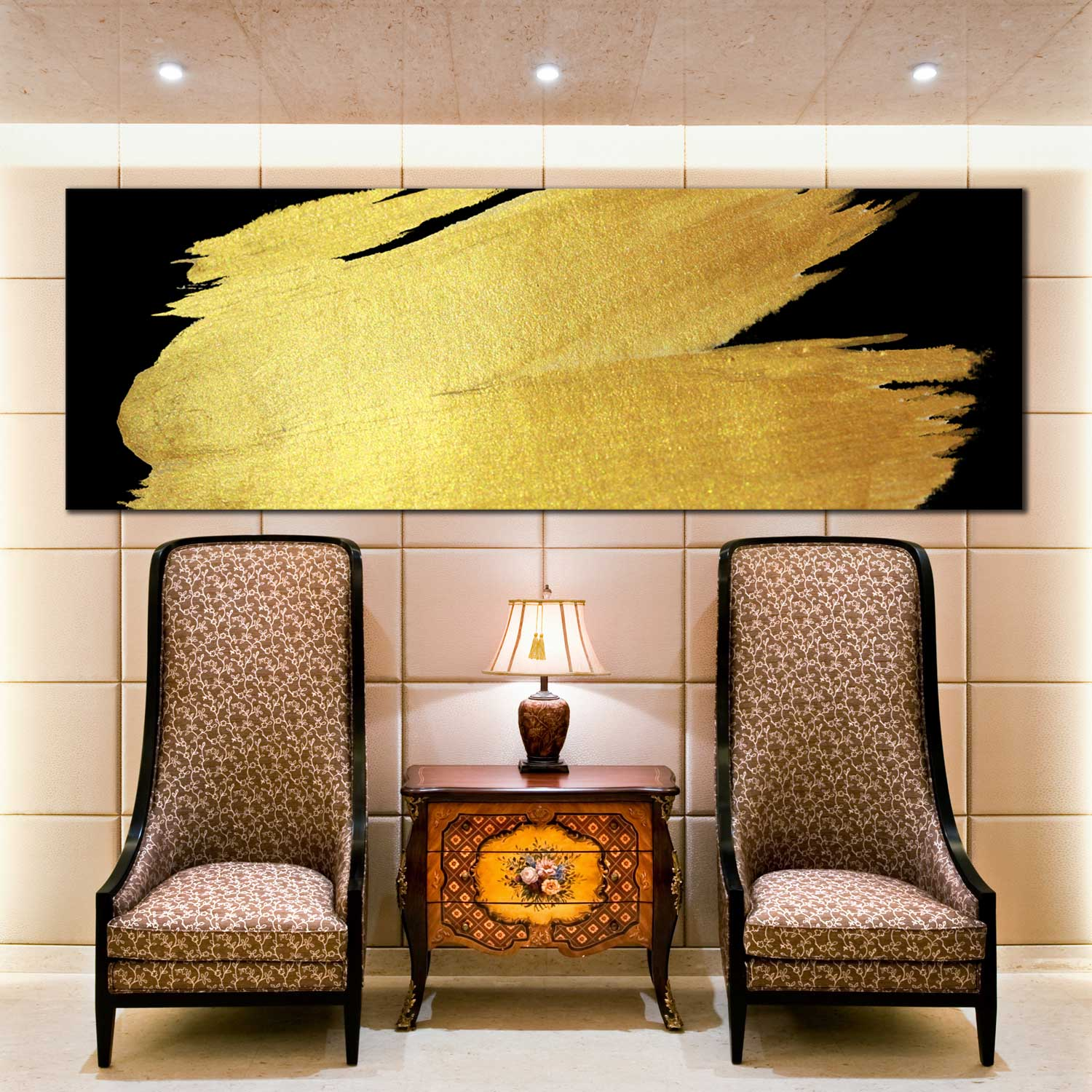 Beautiful Large Canvas Art Abstract Gold Brush Stroke Pattern Black ...