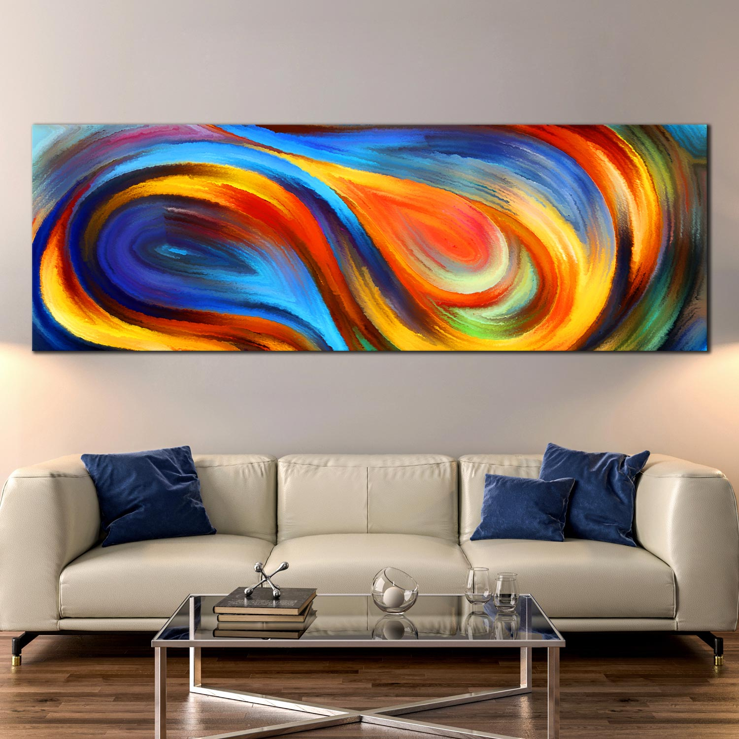 Awe Inspiring Rainbow Abstract Canvas Wall Art Colorful Waves Panoramic Canvas Print Rainbow Colors 1 Piece Canvas Artwork Home Interior And Landscaping Staixmapetitesourisinfo