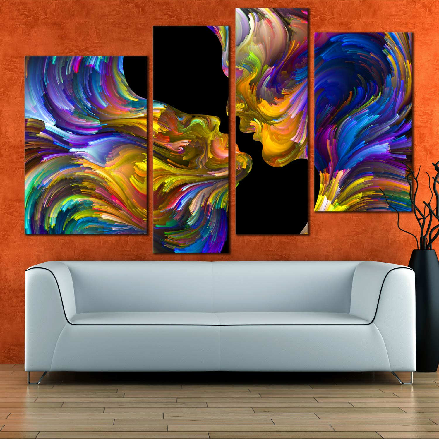 Abstract Swirl Canvas Wall Art Colorful Couples Kiss 4 Piece Canvas Romantic Sensual Humans Canvas Print