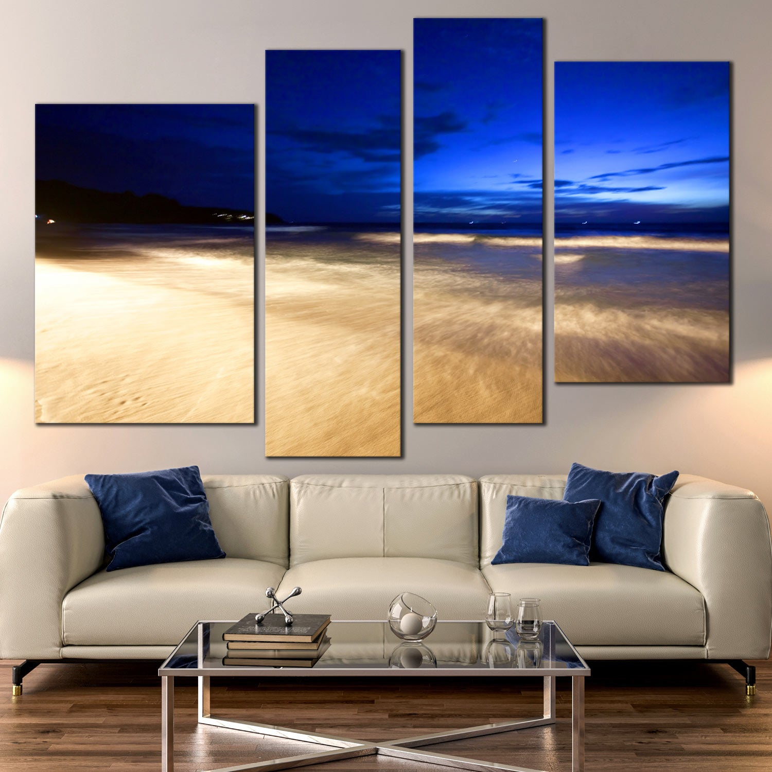 Tropical Beach And Peaceful Ocean: Tropical Beach Canvas Wall Art, Amazing Yellow Thailand