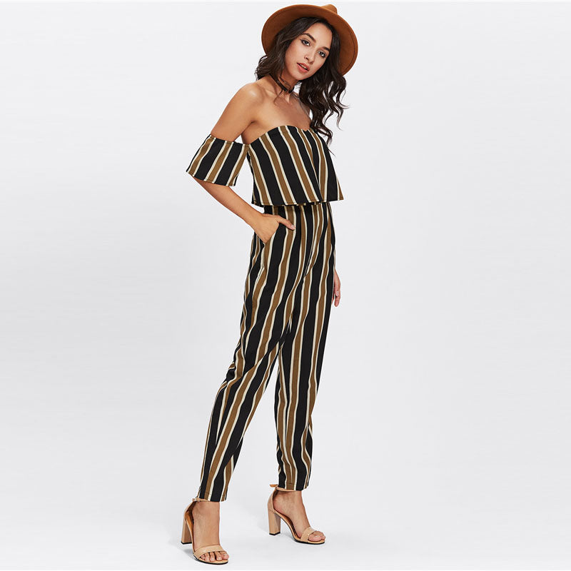 52c551f5cb41 Ladies off the Shoulder Layered Neck Striped Jumpsuit – ooMAXI