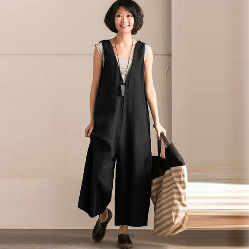 f517e2e15a Women Summer Casual Fashion Lady Sleeveless Suspenders Trousers Bib Overall  Rompers Jumpsuit Pockets Strappy Dungarees Playsuits