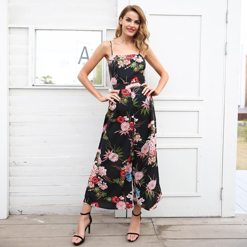 f80c5ac5bd14 Simplee Sexy floral print strap backless jumpsuits women Solid tie up bow  flare opening playsuits Summer