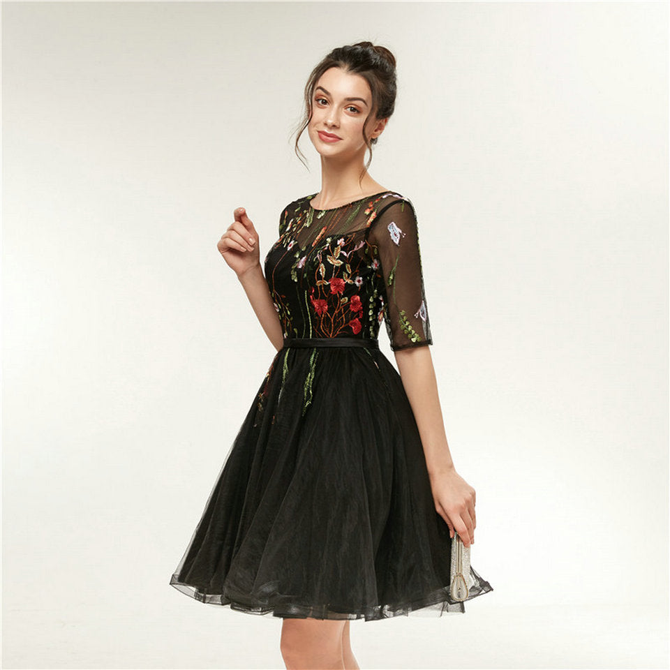 a18ee8957 Ladies Black Knee Length Embroidered Prom Evening Party Dress – ooMAXI