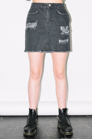 See You Never Clothing Chainmail distressed black denim skirt