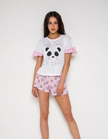 Hey Peachy Too Cute To Care Short Pyjamas