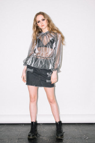See You Never Clothing silver metallic sheer discoball blouse